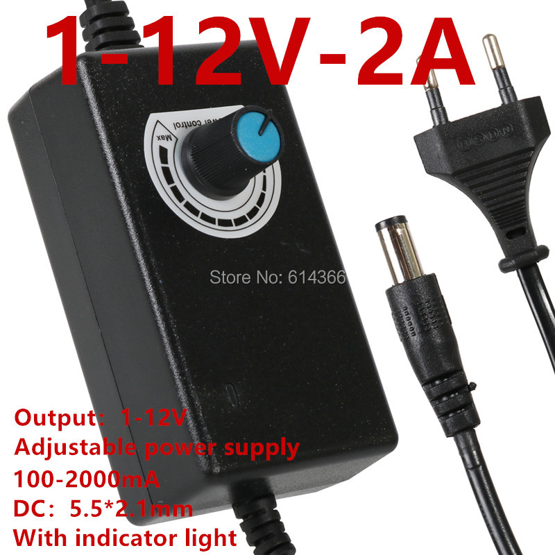 100PCS output 1 12V adjustable power supply 12V 100 2000MA switching stepless voltage regulation power supply