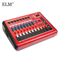 ELM Karaoke Mixing Microphone bluetooth 8 Channel Professional Digital Sound Audio Mixer Console With Power Amplifier USB 48V