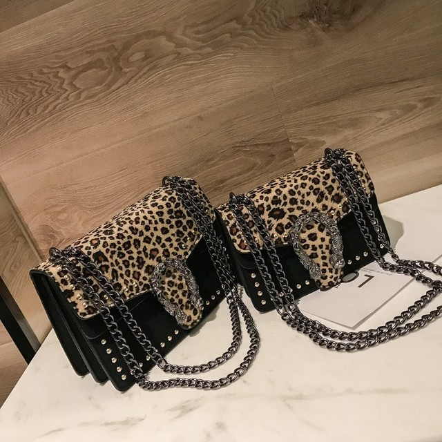 ae174629256cf7 Women Leopard Print Flap Bags 2018 Luxury Designer Snake Rivets Chain  Shoulder Messenger Purses Female PU