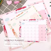 MyPretties Floral Monthly Planner Refill Papers A5 A6 A7 2 Fold Filler for 6 Hole Binder Organizer Notebook