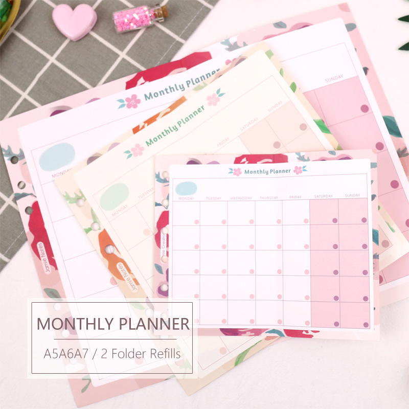 MyPretties Floral Monthly Planner Refill Papers A5 A6 A7 <font><b>2</b></font> Fold Filler Papers for 6 <font><b>Hole</b></font> <font><b>Binder</b></font> Organizer Notebook Papers image