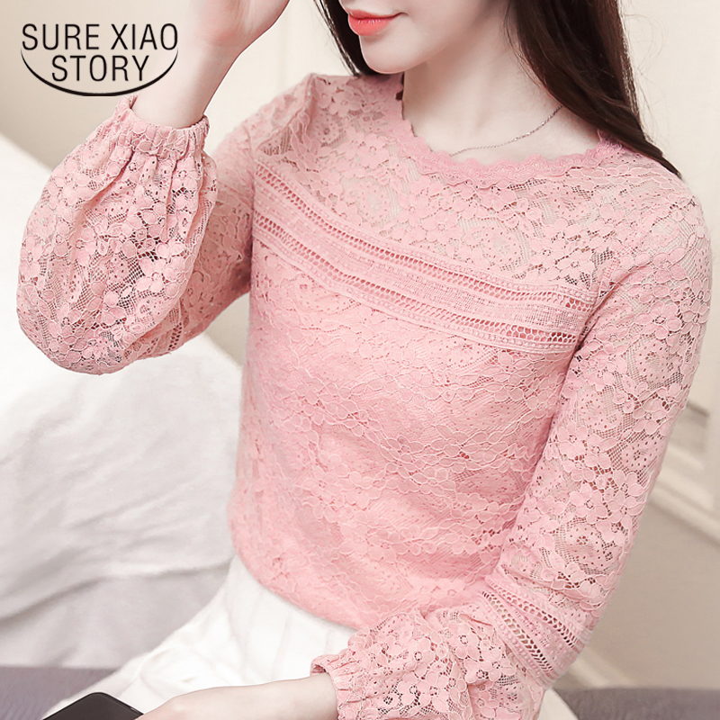 2019 women tops fashion long sleeve lace women blouse shirt causal solid lace shirt floral o neck female clothing 0699 30