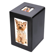 Mayitr Black Wooden Pet Urn Box Dog Cat Cremation Urn Peaceful Memorial Photo Frame Keep Box For Dog Quiet Home Place(China)