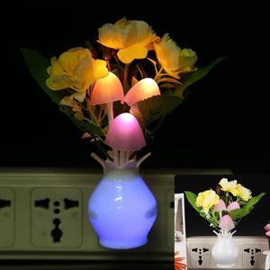 Image 4 - LED kolorowy kwiat lampka nocna lampa EU Plug Sensor dekoracja do domu i do sypialni kreatywna lampa biurkowa oświetlenie nocne