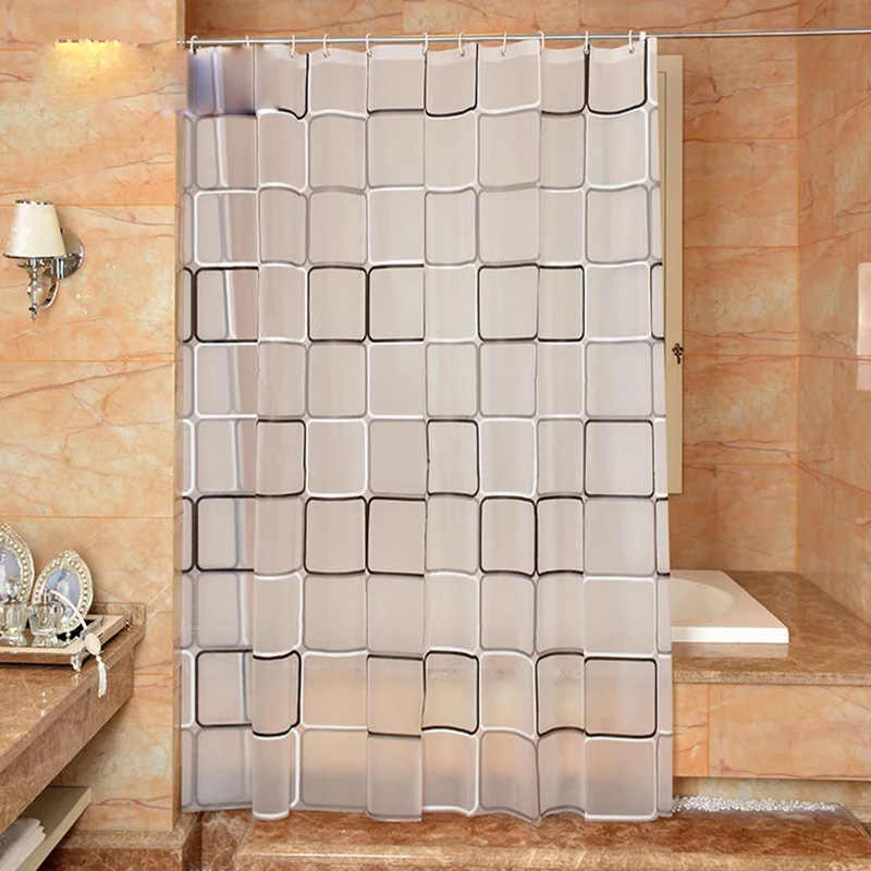 The bathroom shower curtain checkered PEVA Environmental toilet door curtain Shower curtains Waterproof and mould thickening5