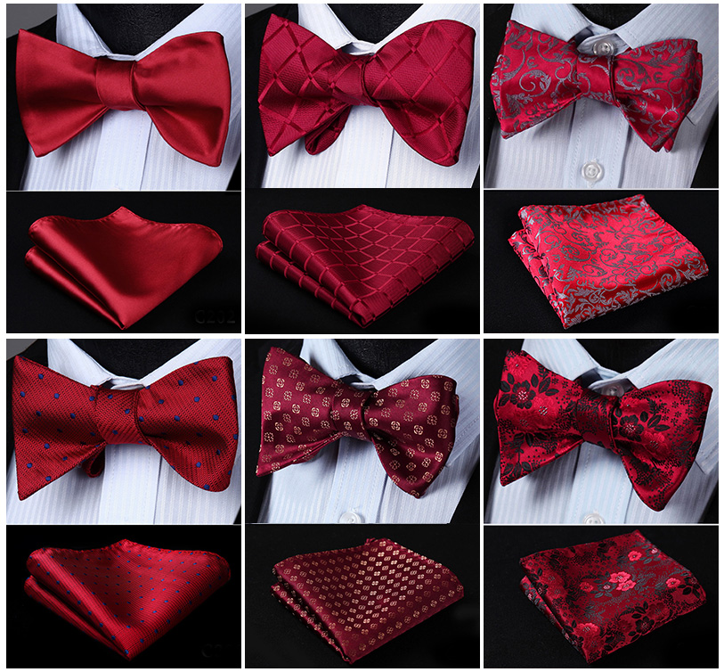 Men's Bow Tie Handkerchief Red Burgundy Self Bow Tie Woven Silk Plaid Check Polka Dot Paisley Floral Party Wedding Business Set