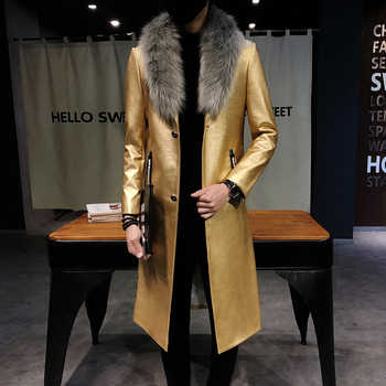 Big Fur Collar  Mens faux Leather Trench Coats Men Overcoats Luxury Veste Homme Gold Long Coats Slim Fit Chaqueta Cuero Hombre - DISCOUNT ITEM  48% OFF All Category