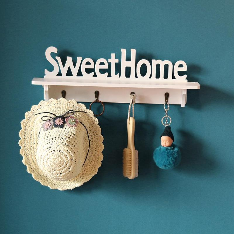Sweet Home Shelves Hat Key Holders 4 Hooks Wall Mounted Storage Organizer Wall Hanger Home Rack Hanging Hooks Home Decoration