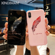 XINDIMAN  Phone case for iphone 6 cover Fashion feather backcover 6s 7 7plus 8 8plus iphoneX XSMAX XR