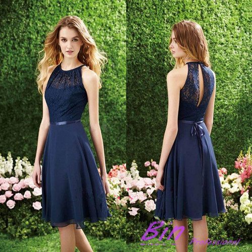2014 ssj Vintage Lace Sheer Sheath Bridesmaid Dresses Crew Sleeveless With Sash Short Mini Cocktail Party Formal Evening Gowns