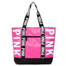 Мода гламур девушка сумки на плечо розовый письмо логотип водостойкие Vs для женщин большой ёмкость Bolsos Mujer хозяйственная сумка