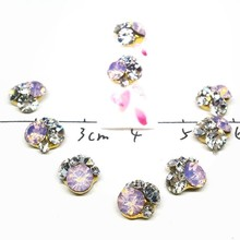 10 Pcs/Lot Hot Pink Flowers Nails Rhinestones Mixed Charms 3D Gemstone White Stones Accessories Cristal For New Nailart Supplies