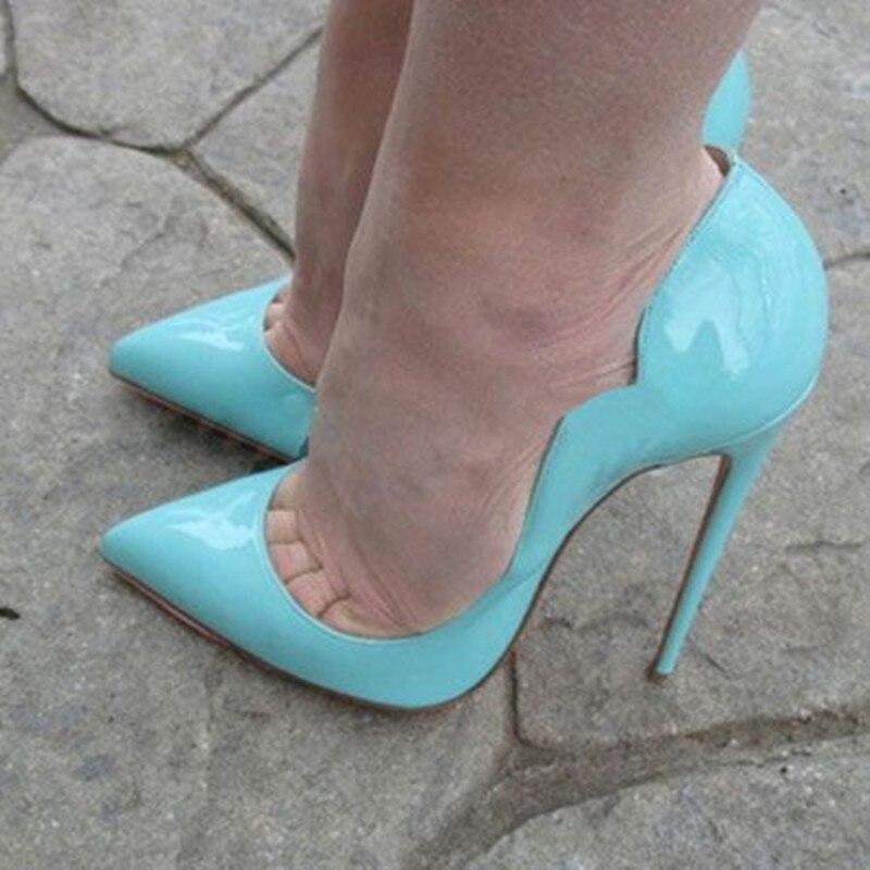 Stiletto Hauts Sexy Verni 120mm Pic Dames Souper En Femmes Chaussures as As Pour Jaune Sandalia Cuir Rouge Pompes Pic Talons Bleu Feminina avTYnq4w