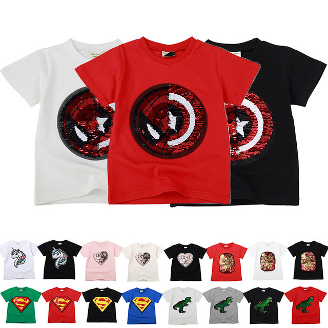 Baby Boys Girls Dinosaur T Shirt Captain America Summer Letters Tops Toddler Kids Spider Man Shield Tees Unicorn Casual Clothing