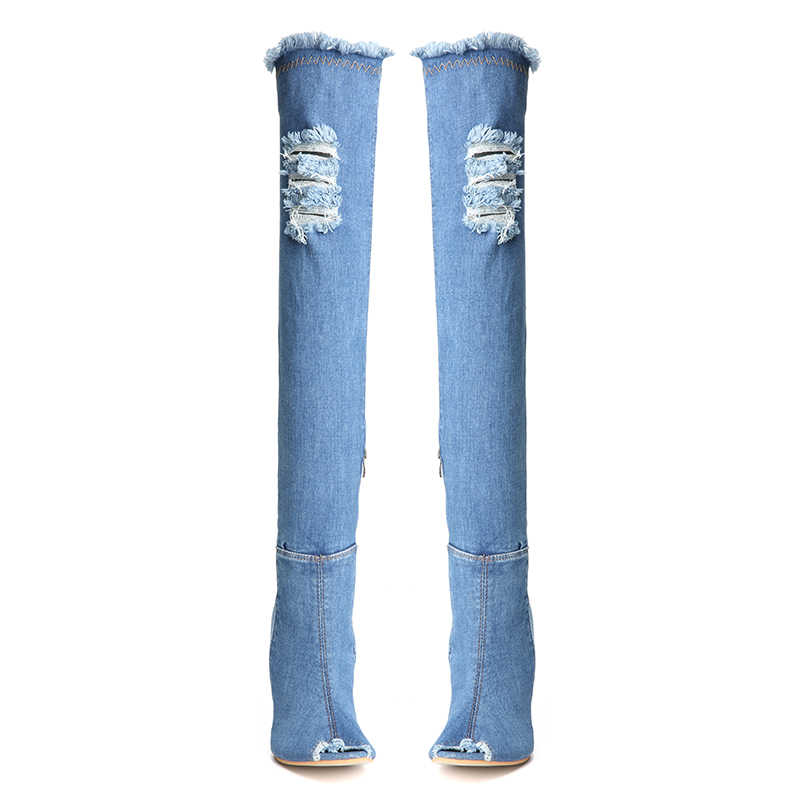 4d74254e8d6 NIS Women Denim Boots, Blue Peep Toe Over The Knee Shoes, Elastic Ripped  Jeans Fashion Thigh High Boots, 10cm Thin High Heels
