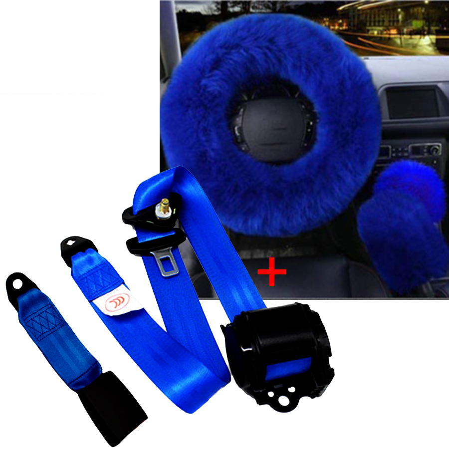 Bleu Couverture De Volant de Voiture Laine Furry Épais Faux Avec Rétractable Véhicule 3 Point Sécurité Siège Tour Ceinture Hiver Essentiel