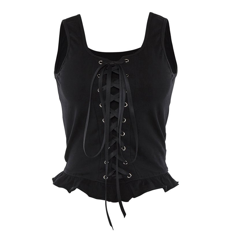 Summer 2019 Cropped Tank Top Women Trendy Gothic Sexy Lace Up Solid Black Slim Ladies Tops Cool Club Goth Streetwear Tanks Top