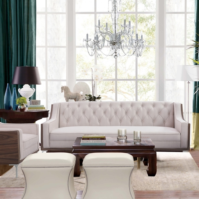 Gavino Velvet On Tufted Sofa Walnut Finish Chrome Legs Modern Contemporary