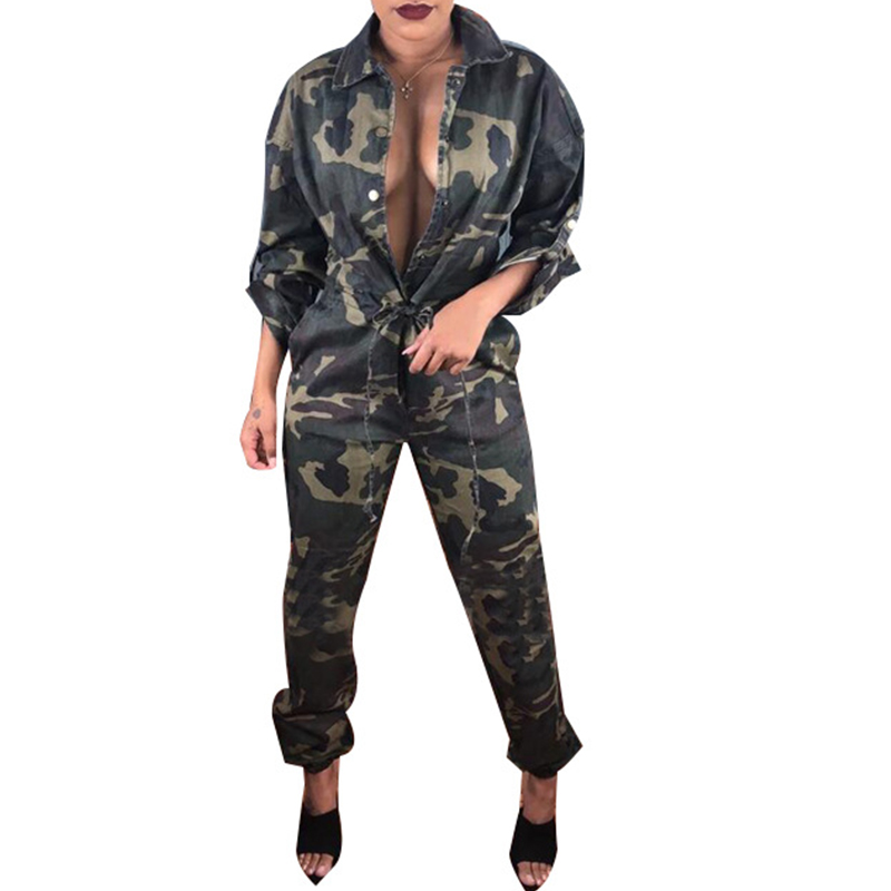 Army Green Camouflage   Jumpsuit   Women Turn Down Collar Drawstring Pockets Casual Camo Overalls One Piece   Jumpsuit   Rompers Tunic