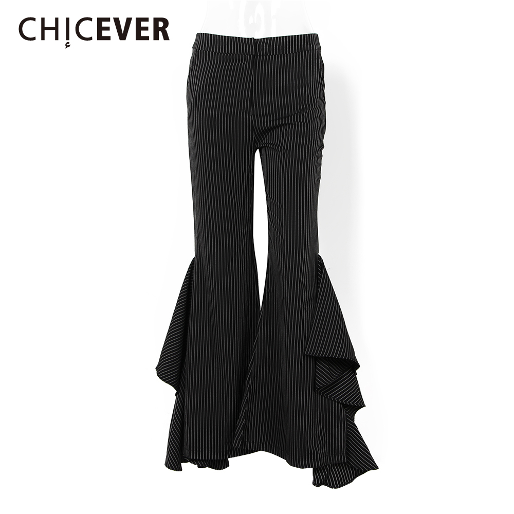 CHICEVER Summer High Waist Striped Ruffles Flare pants Women Casual Full Length Trousers-in Pants & Capris from Women's Clothing    1