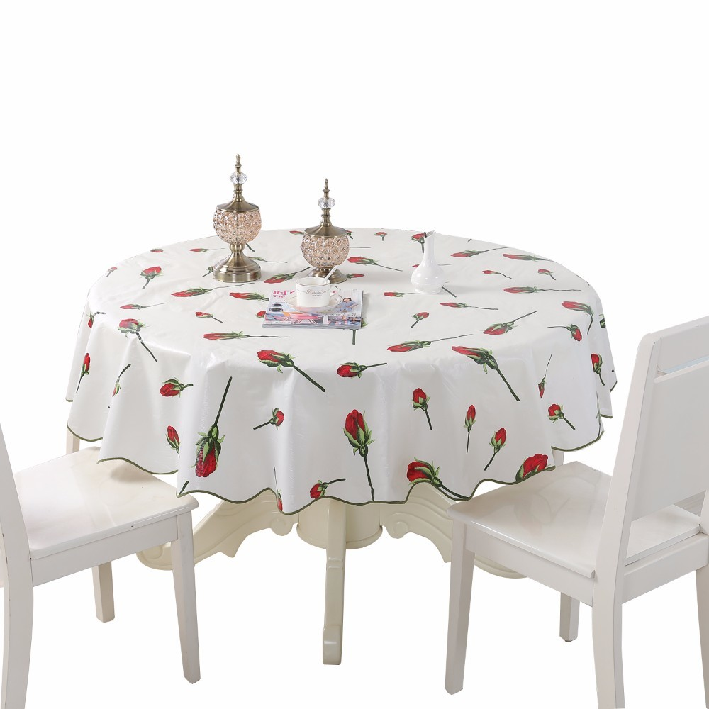 Pastoral PVC Waterproof Round Table Cloth Size 150 180cm Floral Plaid Thicken Home Decoration Tablecloth mesa