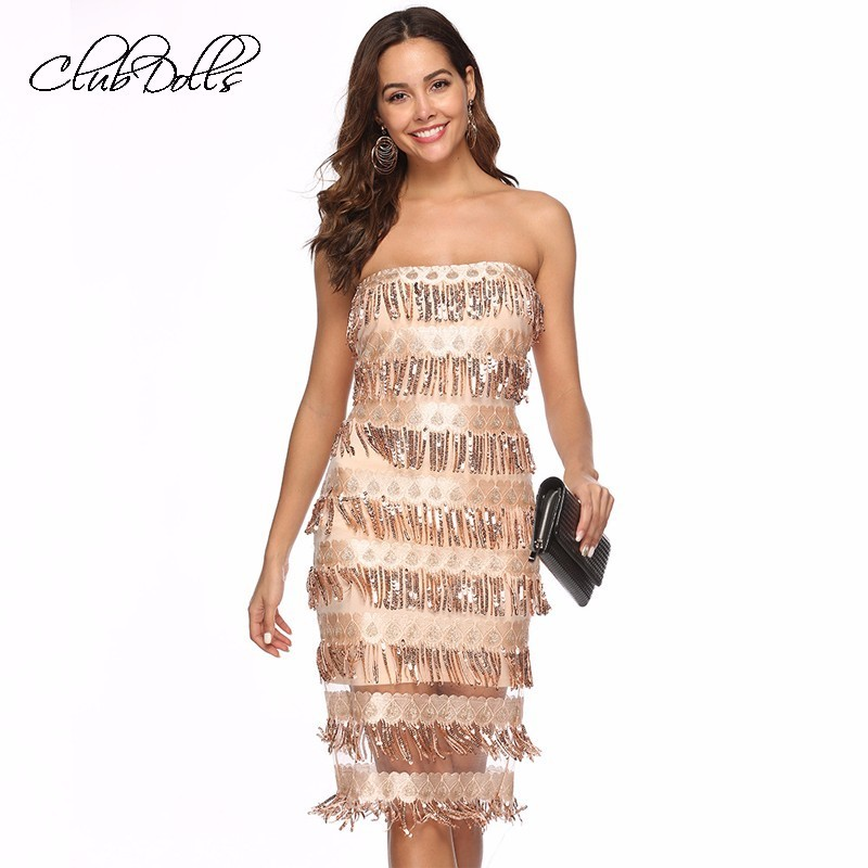 Sparkle Sequin   Cocktail     Dress   Strapless Elegant Party   Dress   Fringe Sequins Prom   Dress   Vestidos Meshback Ziper   Dress