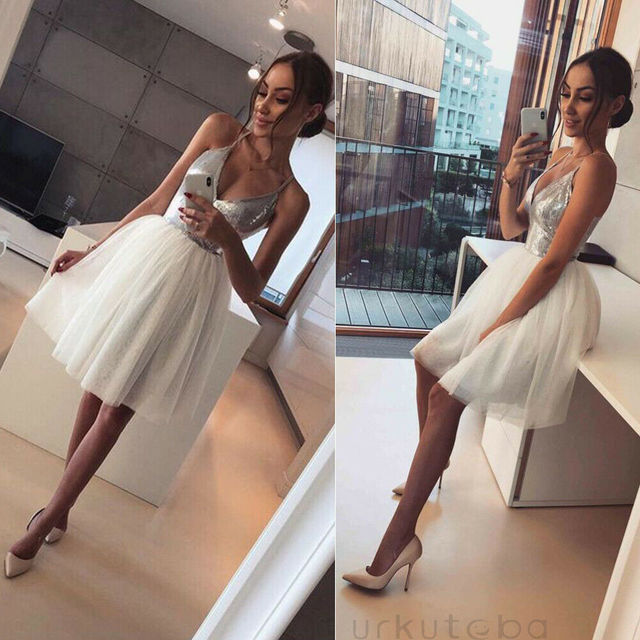 Halter Deep V-Neck Sequin Elegance Evening  Party Mini A Line Dress