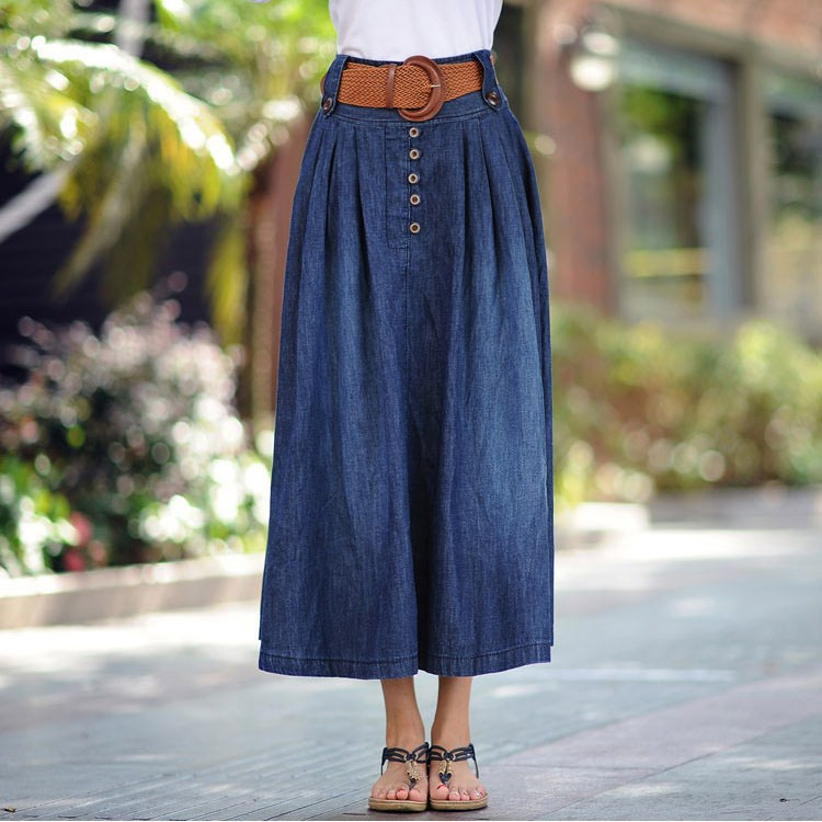 Fashion Women Plus Size Skirt Elastic Waist Pleated Denim Skirt Female Cowboy Long Big Swing Skirts