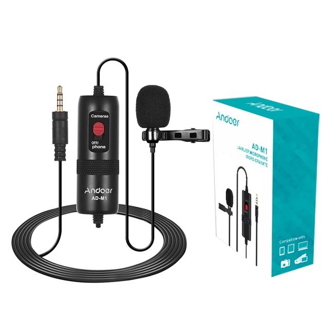 Andoer AD M1 micro à condensateur omnidirectionnel Microphone Lavalier avec pare brise en mousse pour Smartphone iPhone Huawei Xiaomi