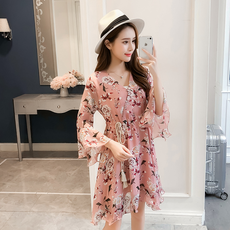 New Women dress Flare Sleeve Print Chiffon V-Neck Have A Waist Dresses Pink Blue 3332 5