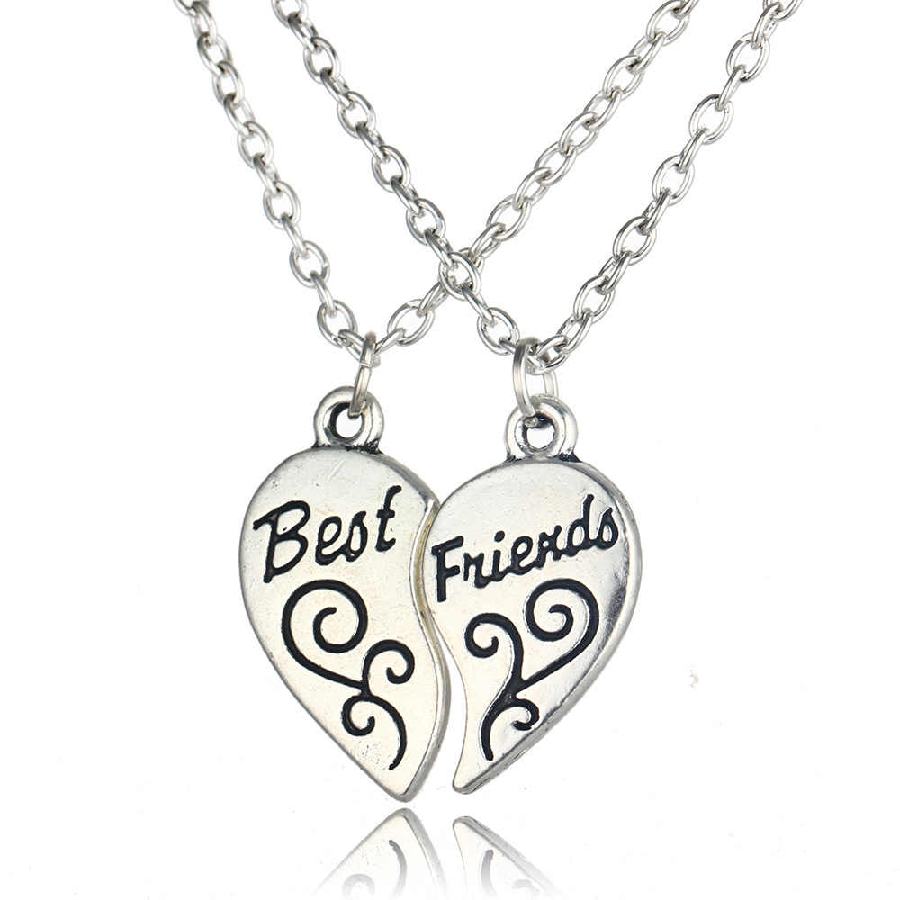 Hot Best Friends Necklace Jewelry Heart-shaped Pendant Couples Paired Necklaces&Pendants Unisex Lovers Valentine's Gift 2pcs/lot