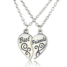 Hot Best Friends Necklace Jewelry Heart-shaped Pendant Couples Paired Necklaces&Pendants Unisex Lovers Valentines Gift 2pcs/lot