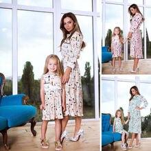 2019 Summer Mother Daughter Family Matching Dress Womens Kid