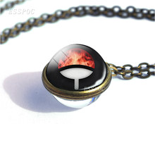 Anime Sharingan Eye Double Sided Glass Ball Necklace Naruto Cosplay Vintage Copper Jewelry Pendant Sasuke Uchiha Clan Rinnegan(China)