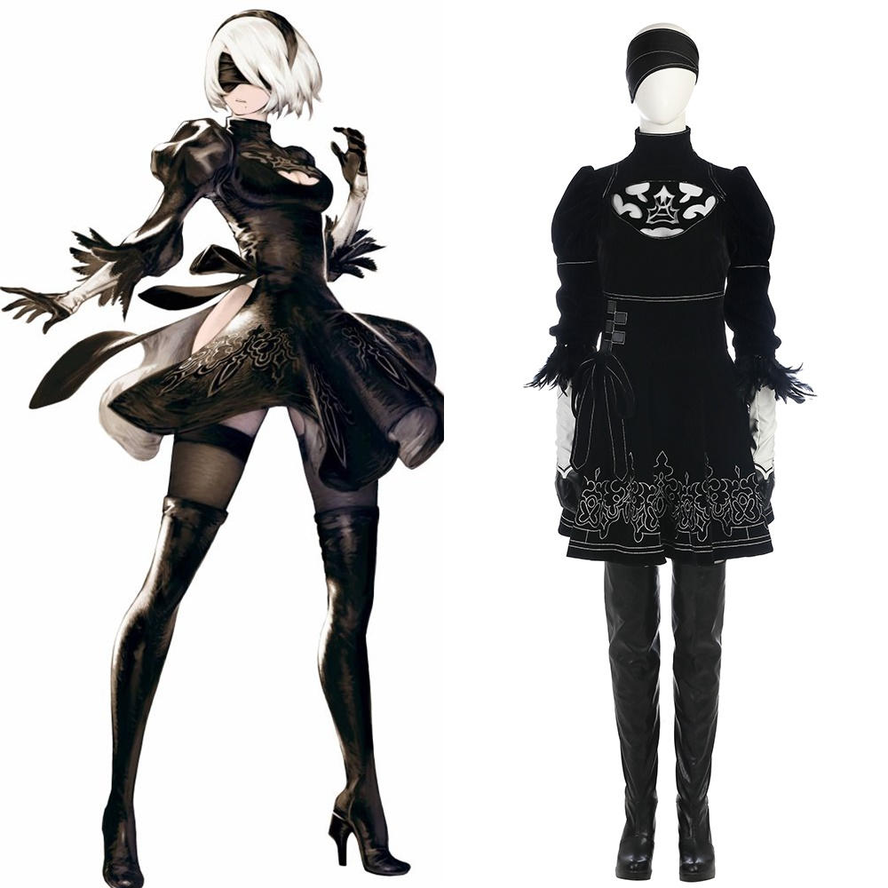 New NieR:Automata 2B YoRHa NO.2 Type B Black Skirt Cosplay Costume Halloween Outfit