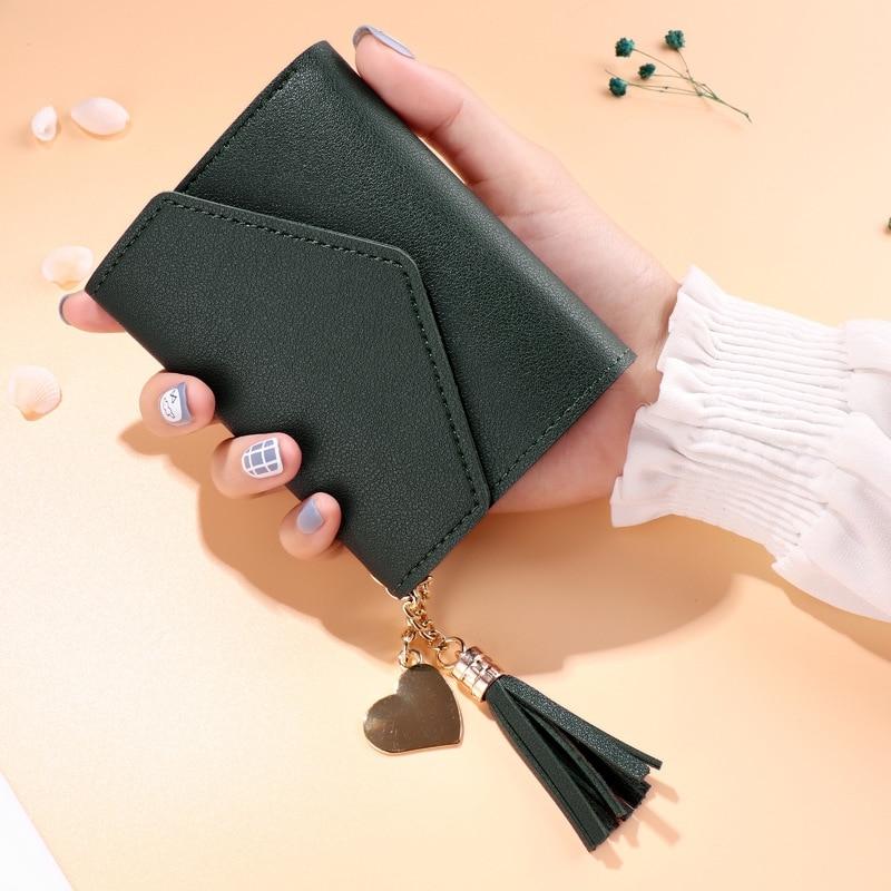 2019 Wallet Female Short Paragraph Student Korean Version Mini Personality Love Tassel Cute Small