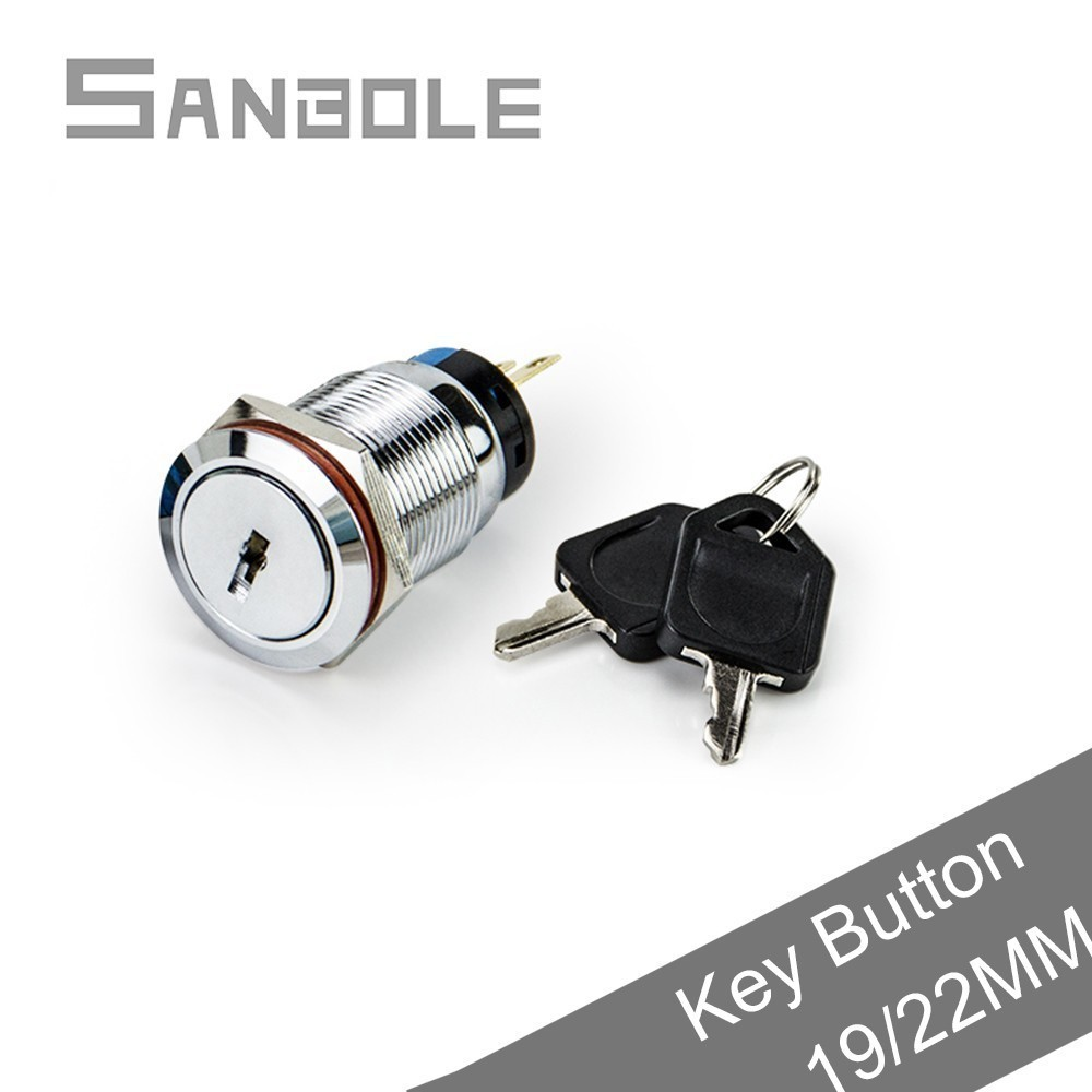 19mm 22mm Metal Key Rotating Switches 2 Position 3 pins Knob Rotary Selector Button Switch IP65 3A 250VAC in Switches from Lights Lighting