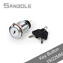 цена на 19mm 22mm Metal Key Rotating Switches 2 Position 3 pins Knob Rotary Selector Button Switch IP65 3A/250VAC
