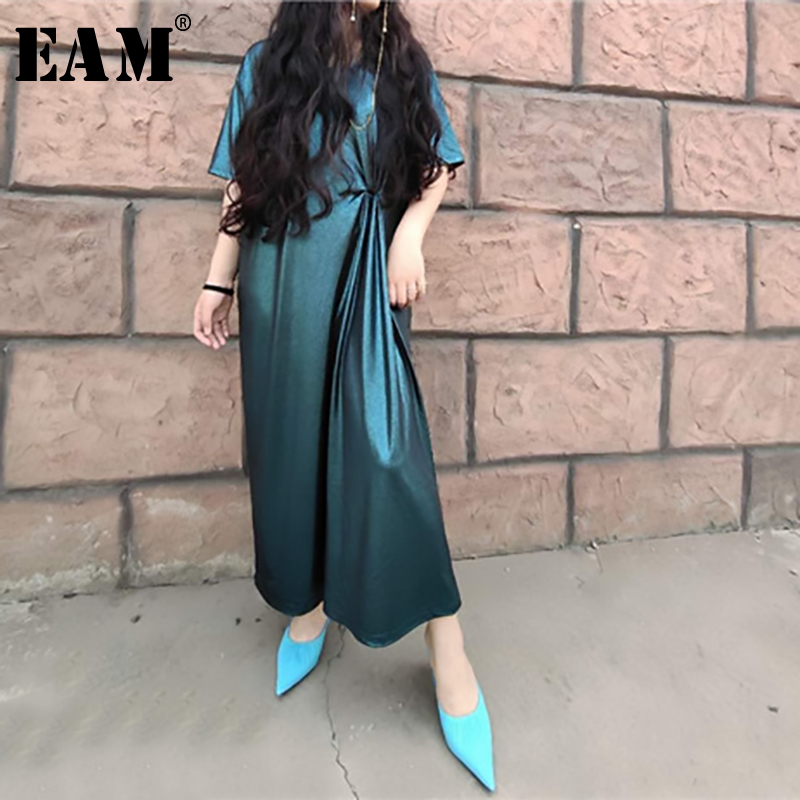 EAM 2019 New Spring Summer Round Neck Short Sleeve Green Waist Fold Big Size Long