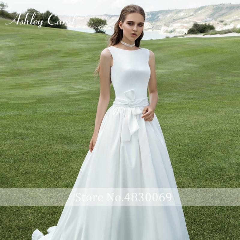 7f67c06d17e5b Ashley Carol Simple High Wedding Dress 2019 New Fashion O Neck ...