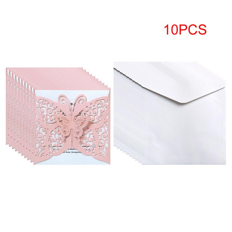 10pcs Laser Cut Hollow Butterfly Wedding Invitations Cards Card Paper And Cover Kit Birthday Shower Party Wedding Decoration