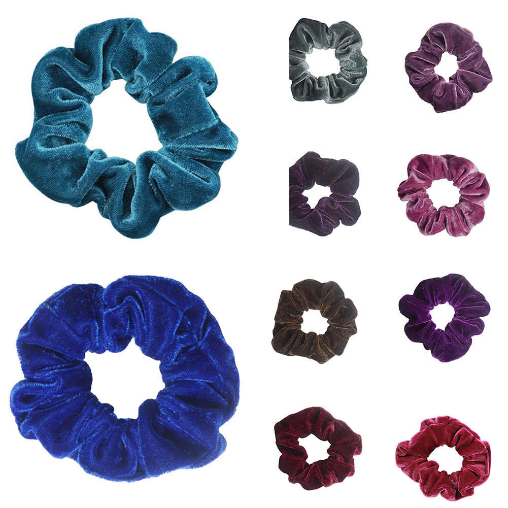 Hair Accessories Women Fashion Luxury Soft Velvet Hair Scrunchies Solid Charms Ponytail Holder Stretchy Deep Purple Hairs Bands
