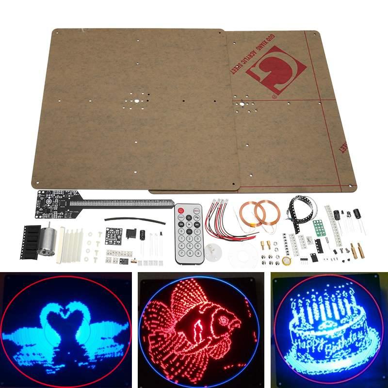 Plat POV 64 LED rotatif publicité lumière bricolage LED Kit Flash Module de Production électronique Version améliorée Kit de formation à souder