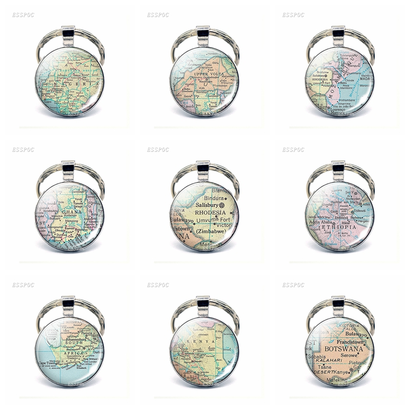 Afica Countries Map Glass Pendant Keychain South Africa Egypt Cameroon Fashion Souvenir Keyring Jewelry Gifts For Women Men