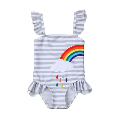 New Toddler Youngsters Child Women Swimsuit Rainbow Print Swimwear Bathing Sisters put on Sunsuit Swimming Clothes Clothes Units, Low cost Clothes Units, New Toddler Youngsters Child Women Swimsuit Rainbow...