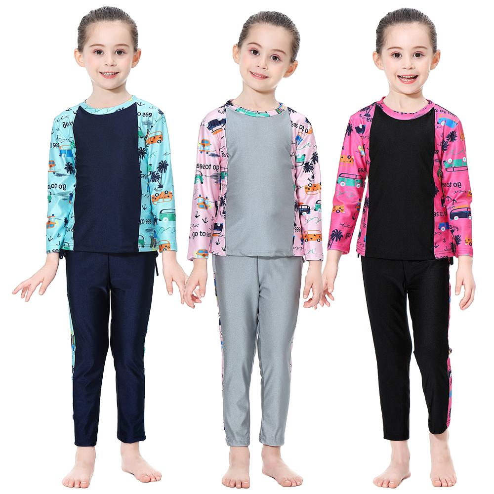 3PCS Girls Muslim Swimwear Islamic Children Swimsuit Arab Beachwear Burkini Full Body Cover Burkini Bathing Suits Ramadan Sets