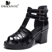 DRKANOL 2019 women sandals summer shoes peep toe genuine leather thick high heel gladiator sandals for women buckle sandals(China)
