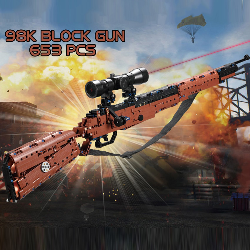 97CM 653 pièces blocs de construction pistolet 98K Musket modèle ensemble mousse balles PUBG jeu enfants jouet cadeau Compatible grandes marques technic brique