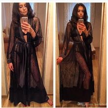 0b45d8e29c Lady Women's Lace Sexy Lingerie Nightdress Sleepwear Bathrobes Long Gown  Kimono Mesh Sheer See-through