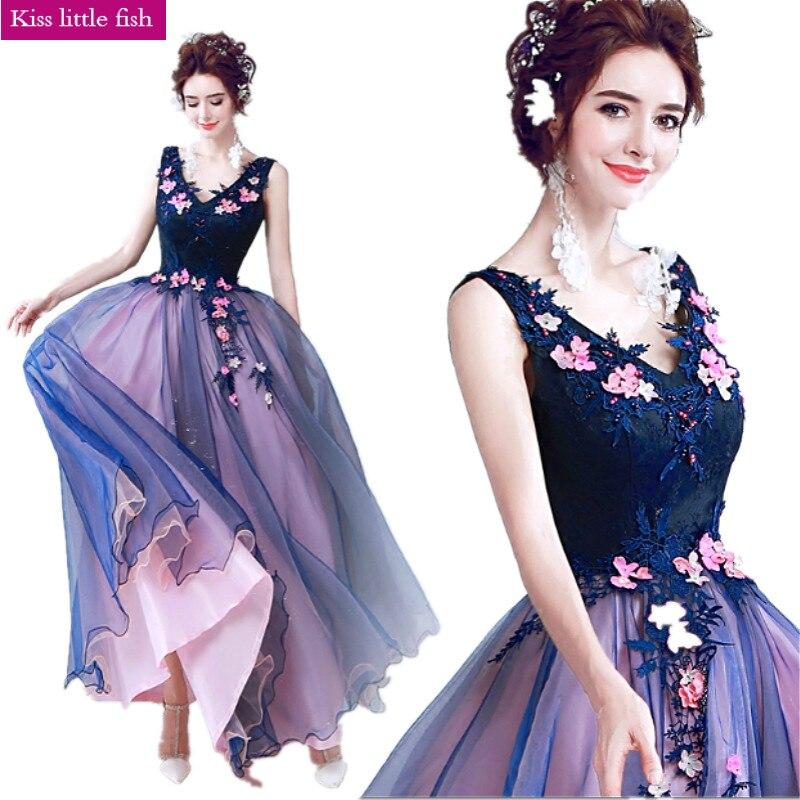 069 Free shipping 2019 New Contrast color Evening dress Vestido de festa